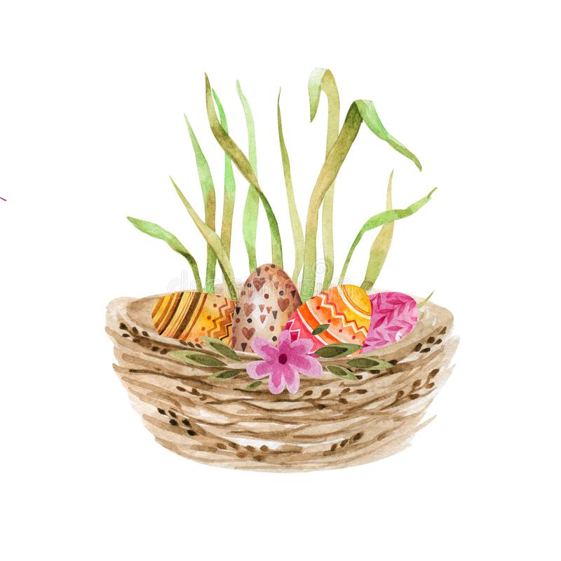 Basket with Easter eggs. Watercolor drawing. Isolated object on white background. stock photography