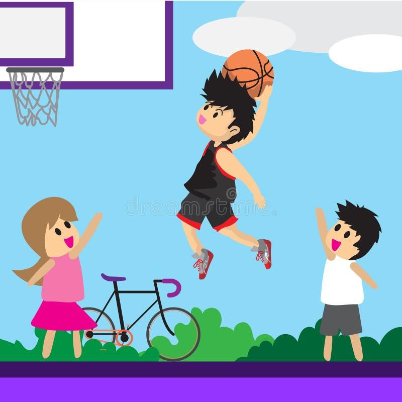 Basket för konst för tecknad film för design för tecken för pojkelekbasket royaltyfri illustrationer