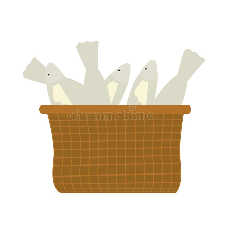 Basket with fishes royalty free illustration