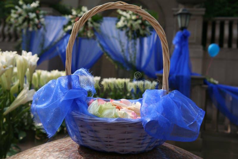 Basket of flower petal stock photos