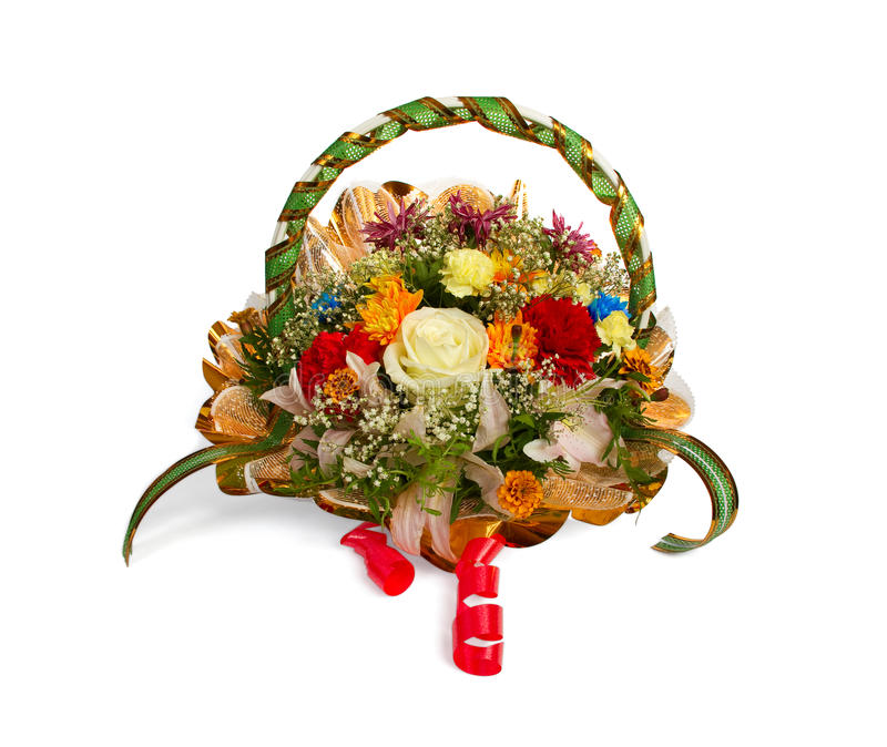Basket of flowers stock images