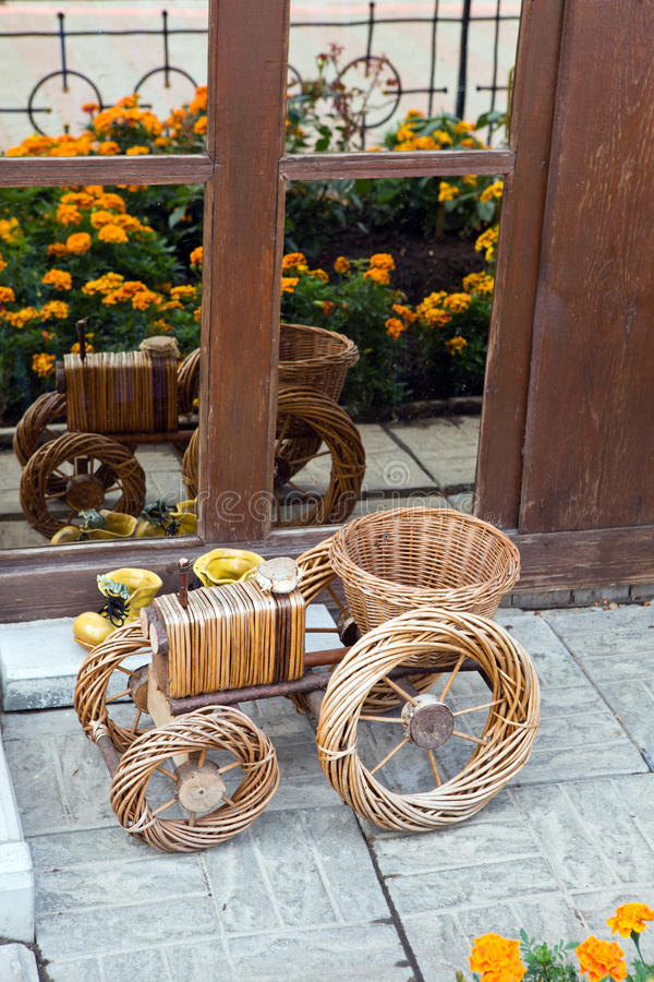 Basket for flowers stock photo