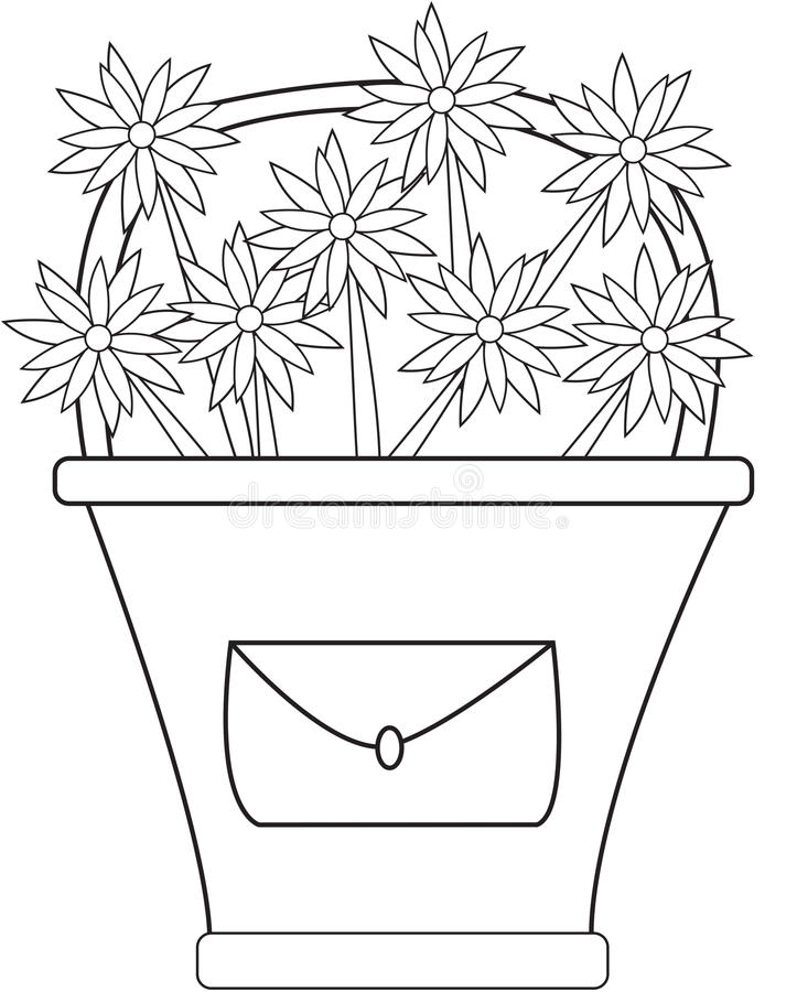 Download Basket Of Flowers With A Mail Coloring Page Stock Illustration