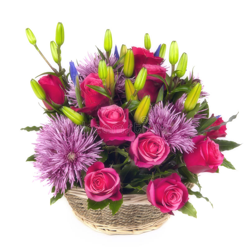 Download Basket Of Flowers Over White Stock Image - Image: 24798229