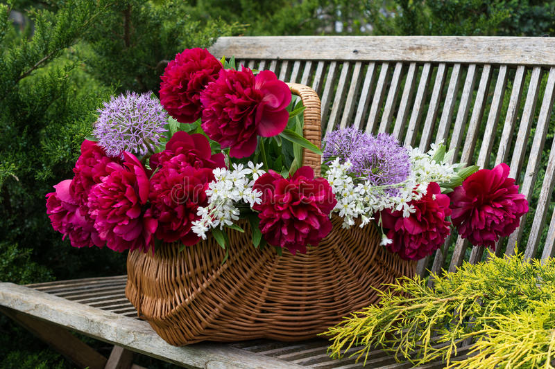 Basket with flowers. stock photo