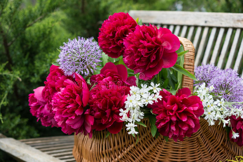 Basket with flowers. stock image