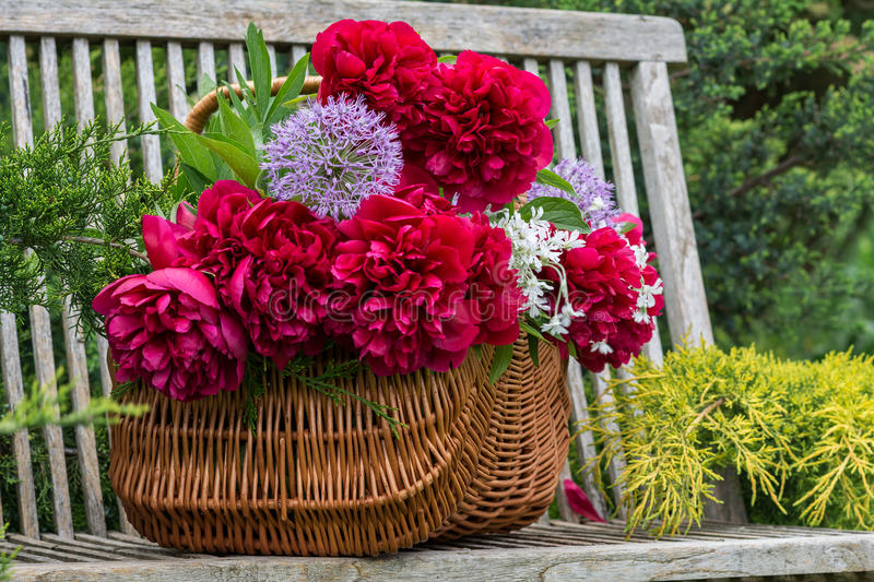 Basket with flowers. stock images
