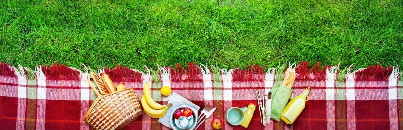 Basket Food Fruit Check Plaid Picnic Background stock photo