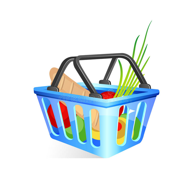 Basket with food. Vector illustration stock illustration