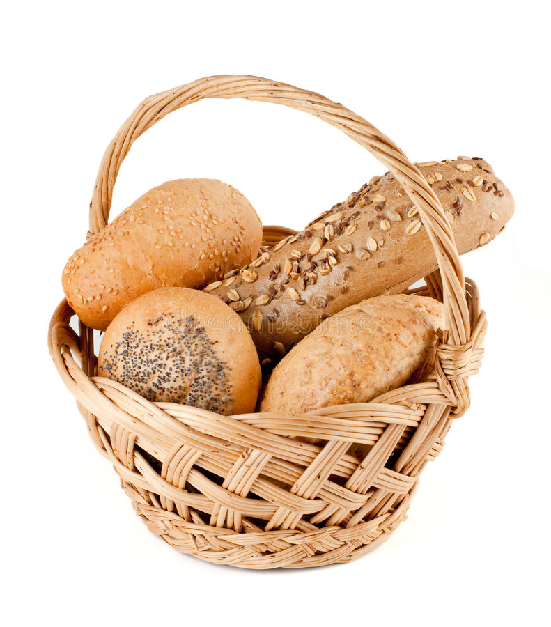 Basket with fresh bread stock image