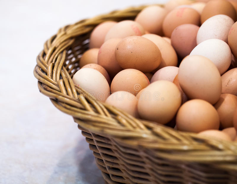 Basket of fresh eggs from the farm royalty free stock photo