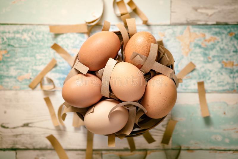 Basket with fresh eggs royalty free stock photos