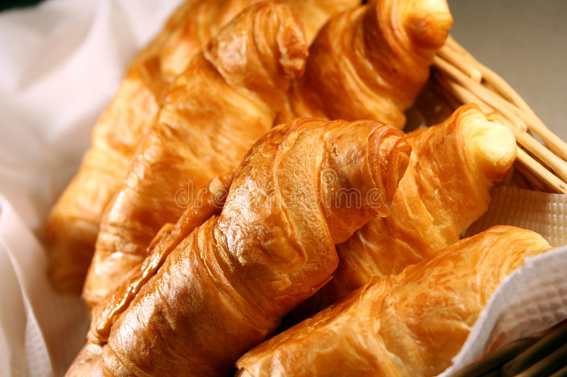 Basket of Fresh hot croissant royalty free stock image