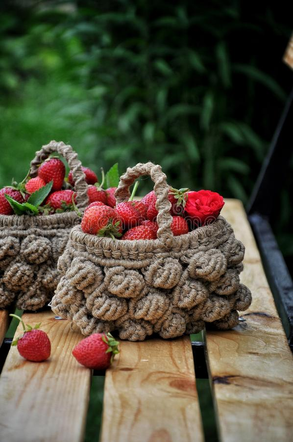 Download Basket Of Fresh Strawberries On A Background Of A Green Garden And Tree Branches Stock Image - Image of ripe, dessert: 104879031