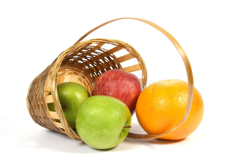 Download Basket with fruit. stock photo. Image of assortment, tangerine - 1409448