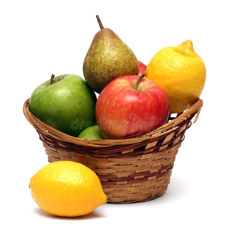 Basket with fruits stock images