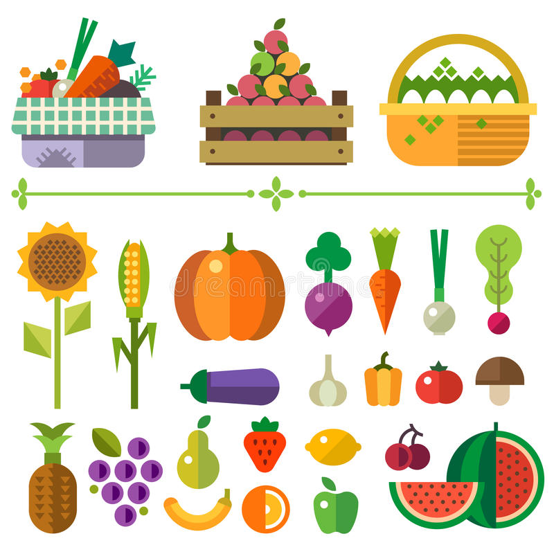 Basket with fruits and vegetables. Farm. Elements and sprites. Vector flat illustrations vector illustration