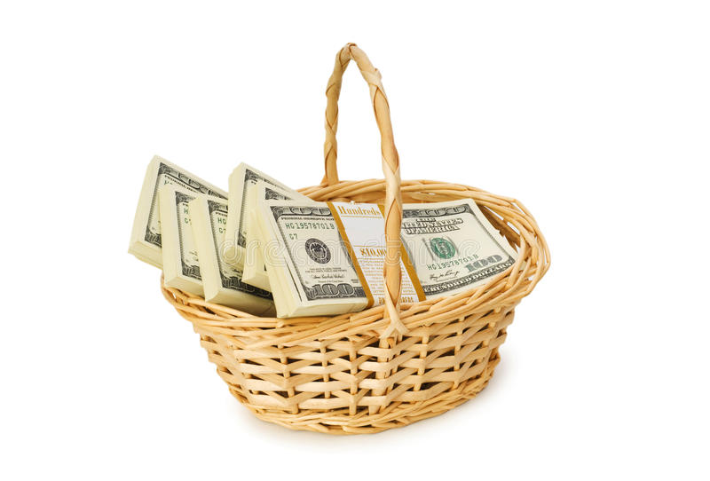 Download Basket Full Of Dollars Isolated Stock Photo - Image: 12909694