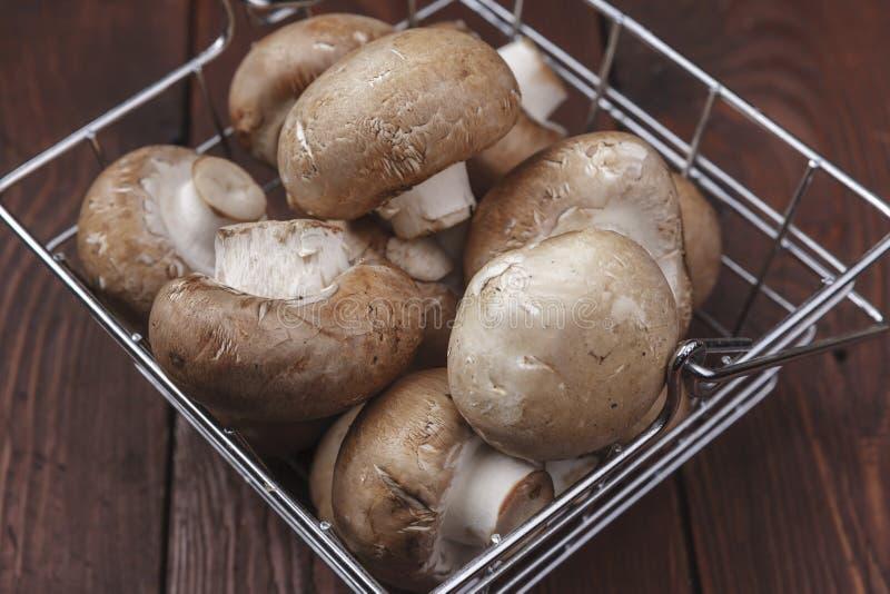 Basket full of mushrooms royalty free stock images
