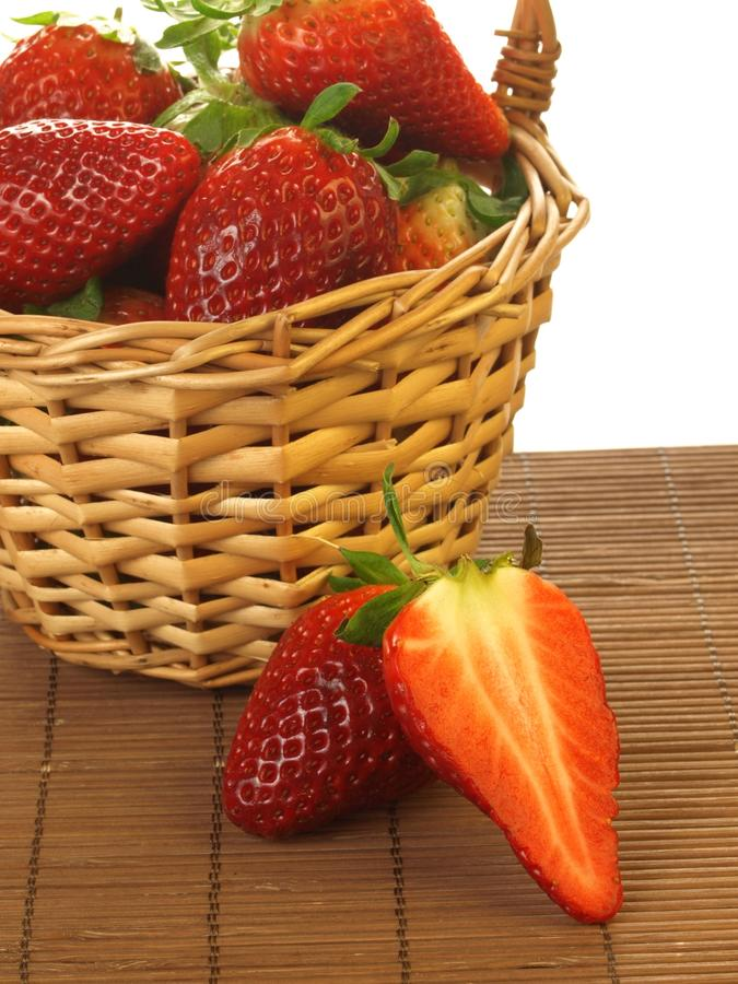 Fresh strawberries, close up, isolated stock images
