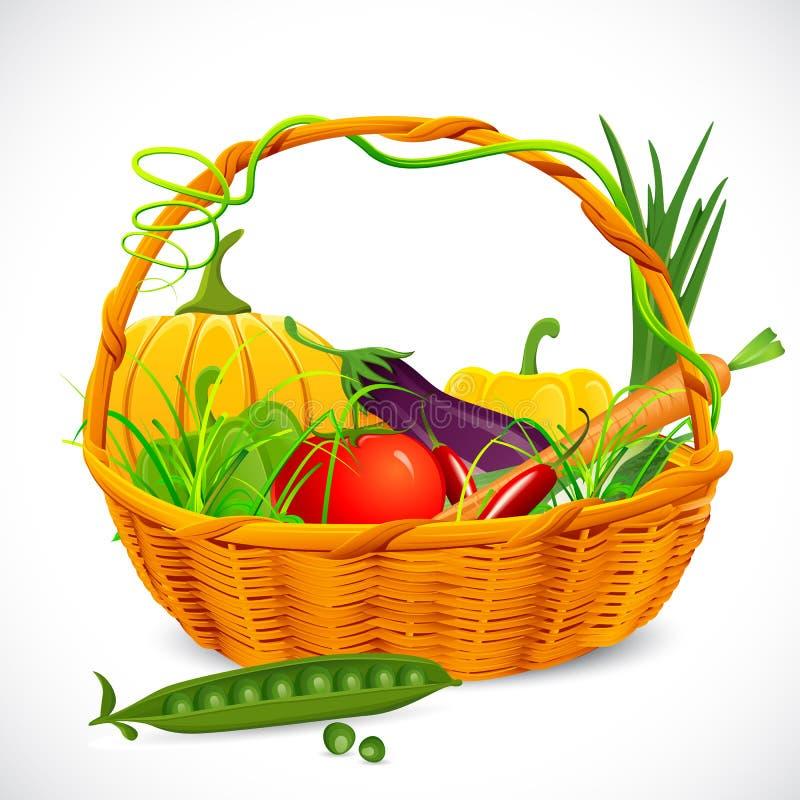 Basket full of Vegetables vector illustration