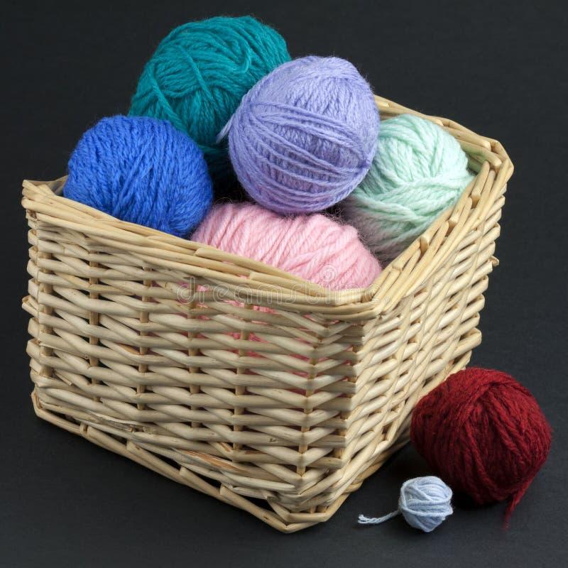 Basket full of yarn royalty free stock photos