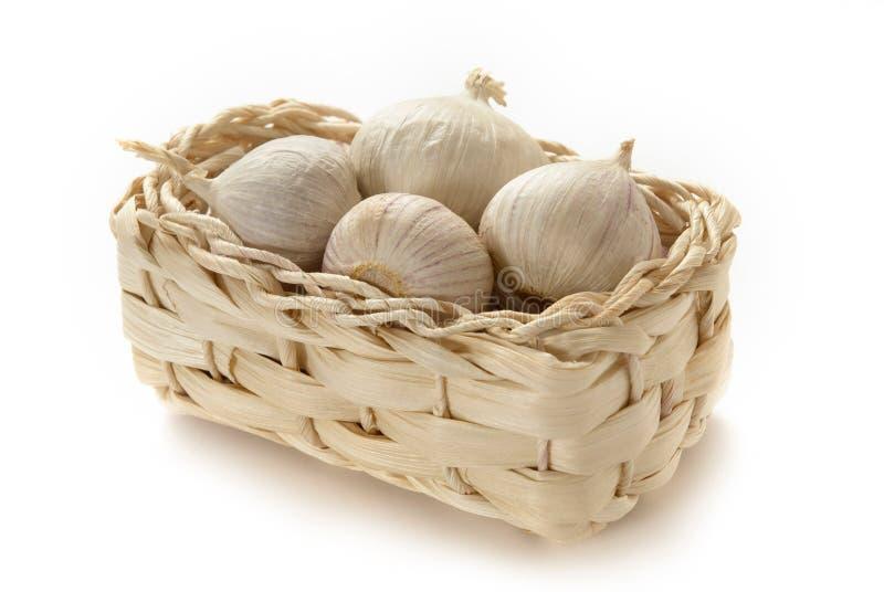 Basket of garlic stock image