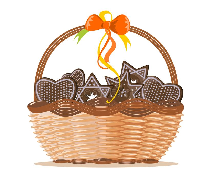 Download Basket With Ginger Cakes Into White Background Stock Vector - Image: 17910275
