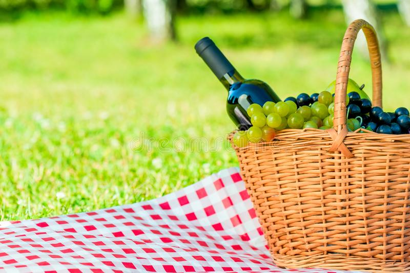 Basket with grapes and a bottle of wine and space for writing on. The left royalty free stock photo