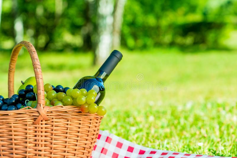 Basket with grapes and a bottle of wine and space for writing on. The right stock image