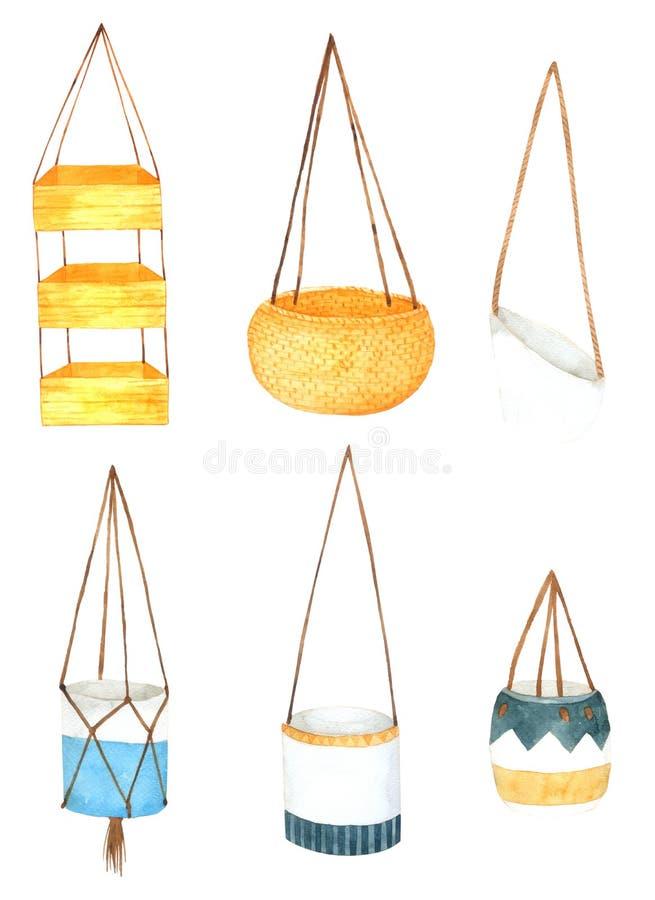 Basket Hand drawn watercolor element for design stock illustration