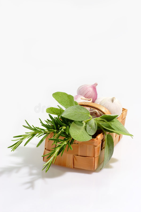 Basket of Herbs stock photos