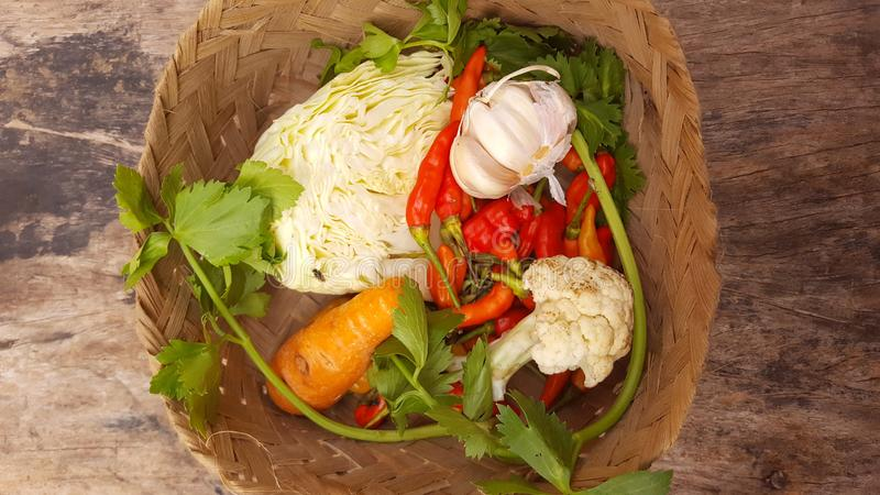 In-basket ingredients royalty free stock photo