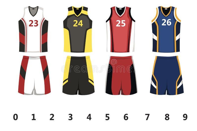 Basket jersey vektor illustrationer