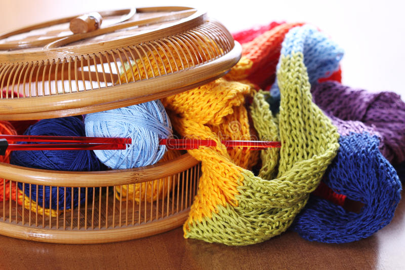 Download Basket with knitting stock photo. Image of violet, comfortable - 18277892