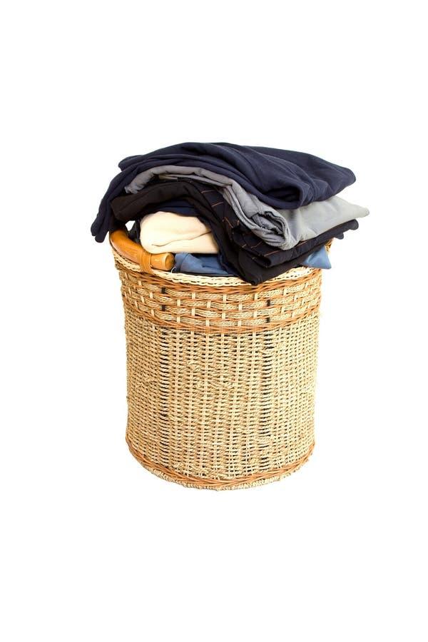 Basket with laundry stock photo
