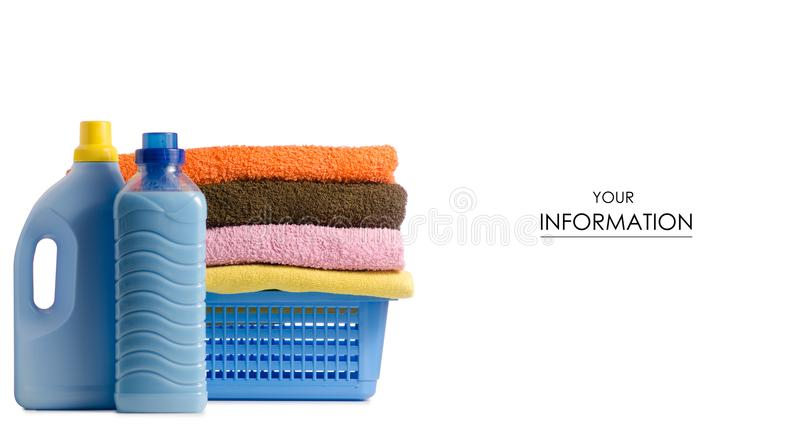 Basket with laundry towels liquid bottle powder conditioner softener pattern. On white background isolation royalty free stock image
