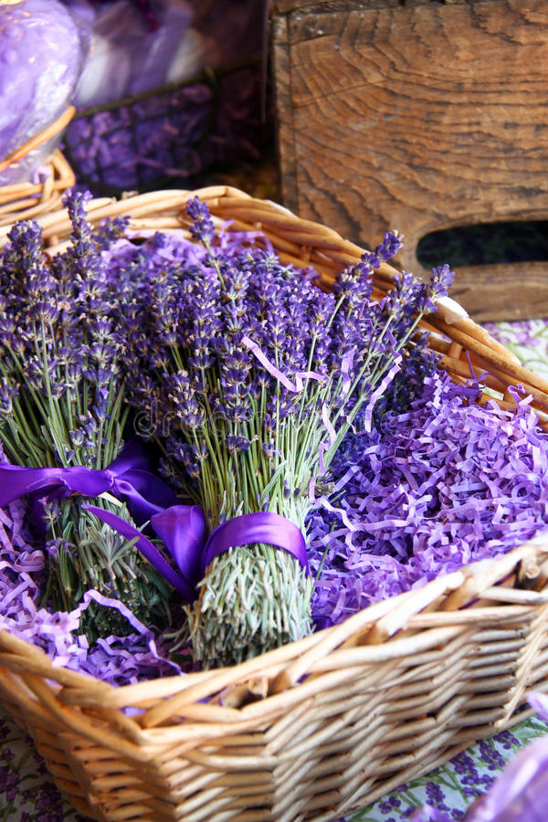 Basket of Lavender stock photos