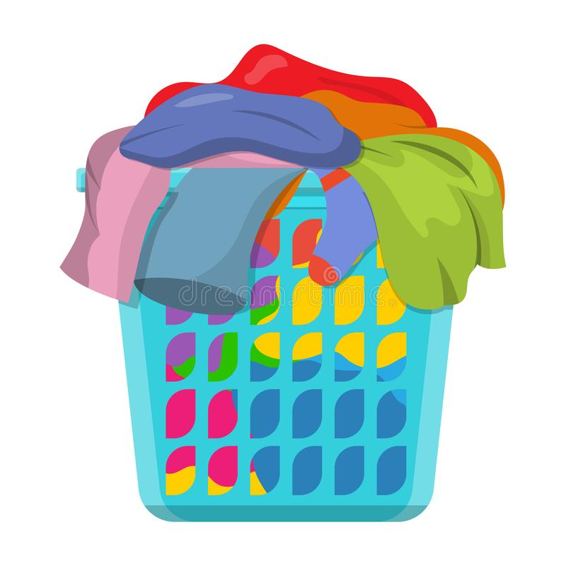 Basket with linens. Laundry basket with dirty clothes. Vector illustration in flat style royalty free illustration
