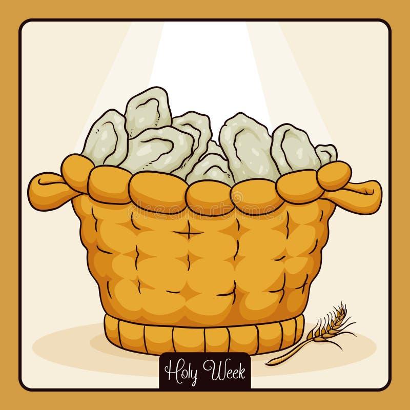 Basket with Many Breads Multiplied for Jesus Christ, Vector Illustration stock illustration