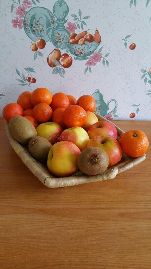 Basket of mixed fruit stock image