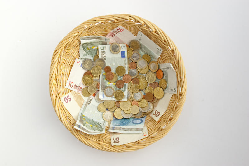 Basket with money royalty free stock images