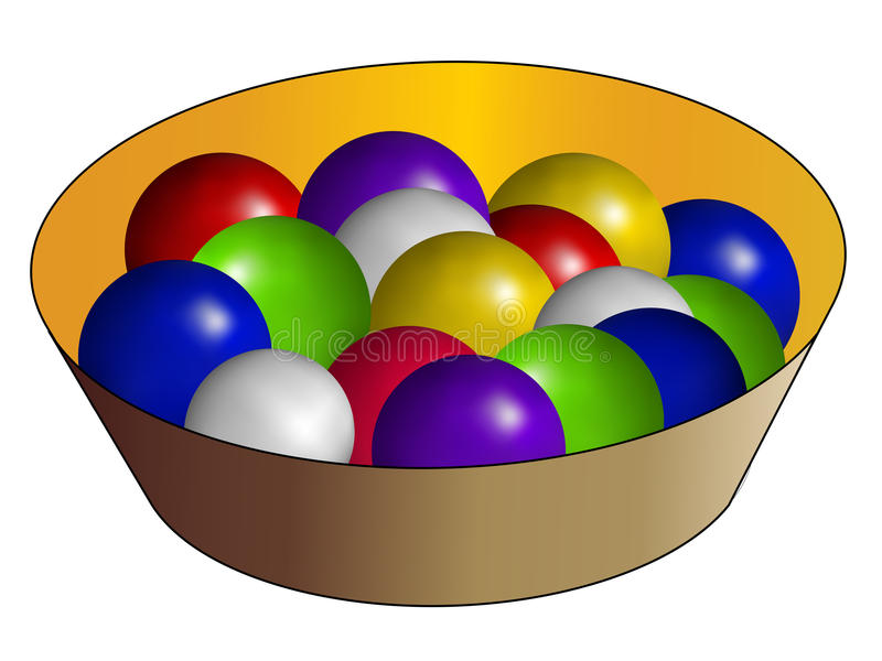 Basket And Multicolor Ball Stock Image