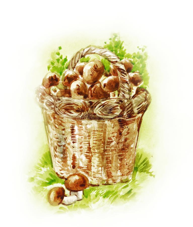 Basket with mushrooms. Watercolor painting in vintage style. Hand-drawn autumn illustration vector illustration
