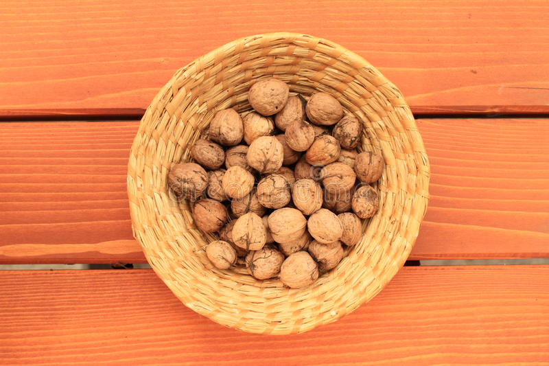 Basket With Nuts Stock Image