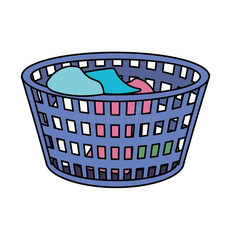 Basket object with dirty clothes inside. Vector illustration royalty free illustration