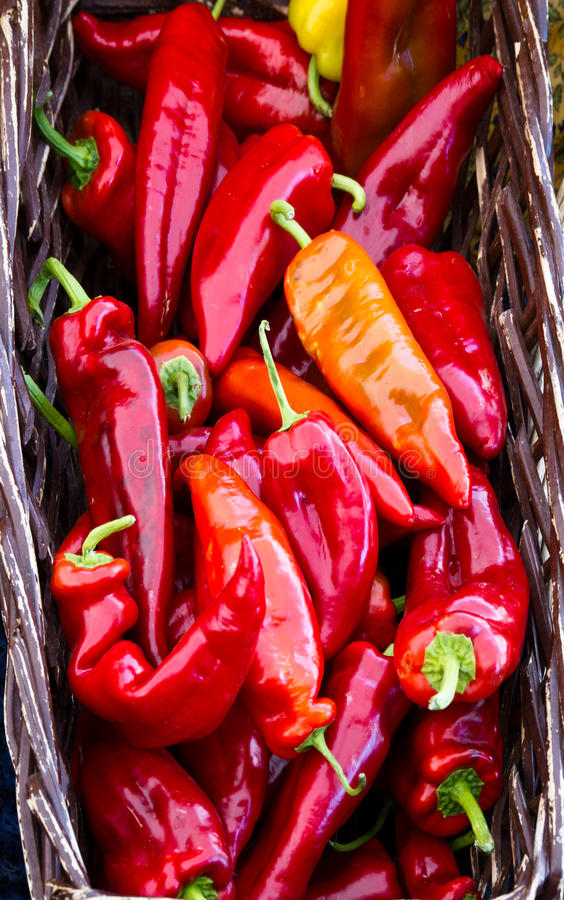 Free Basket Of Red Hot Peppers Stock Photo - 23356000