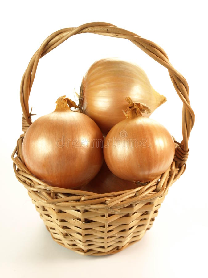 Basket of onions royalty free stock image