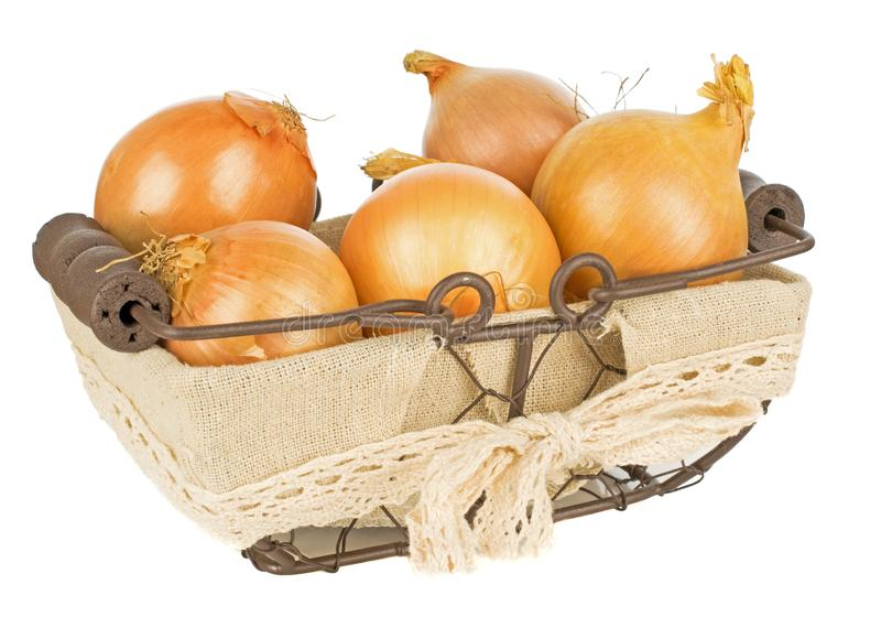 A basket of onions royalty free stock photography