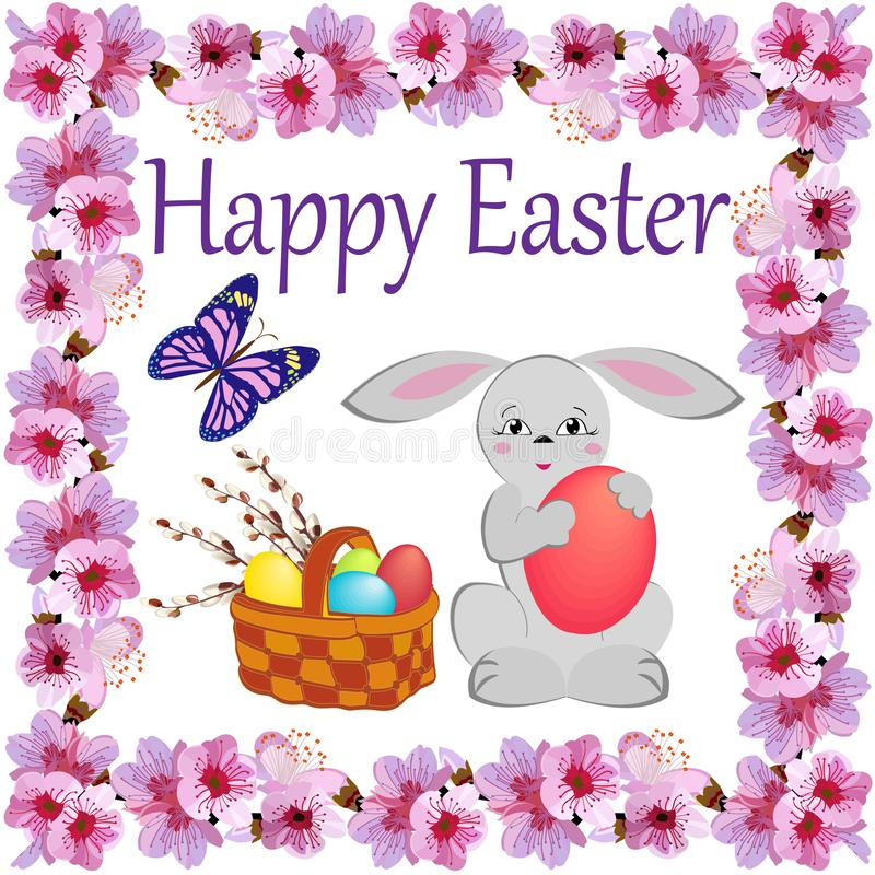 Basket with painted eggs and sprigs of flowering willow in a square frame of flowers with the wish of happy Easter royalty free illustration